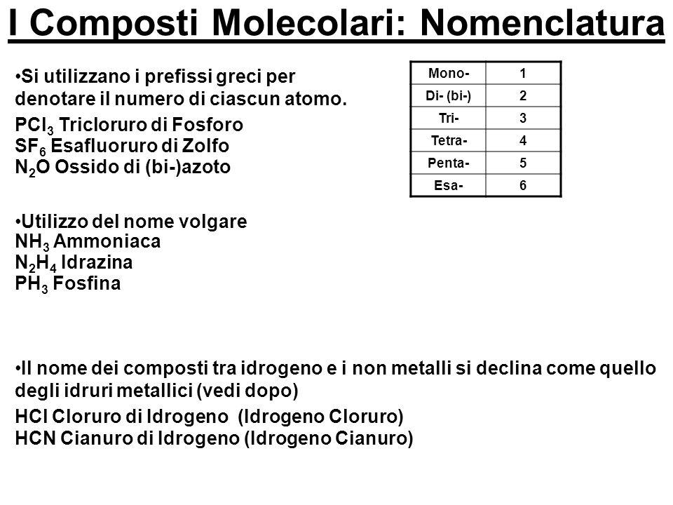 I Composti Molecolari: Nomenclatura Mono-1 Di- (bi-)2 Tri-3 Tetra-4 Penta-5 Esa-6 Si utilizzano i prefissi greci per denotare il numero di ciascun ato