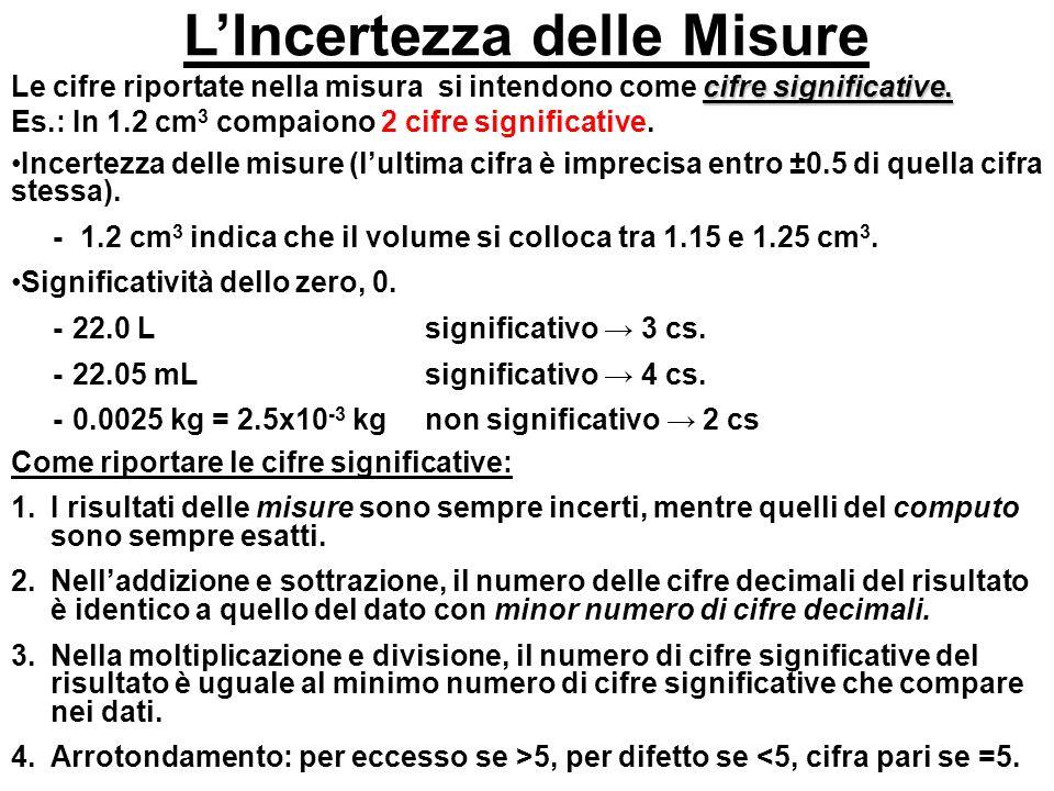 LIncertezza delle Misure cifre significative. Le cifre riportate nella misura si intendono come cifre significative. Es.: In 1.2 cm 3 compaiono 2 cifr