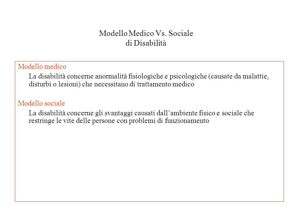 Modello Medico Vs. Sociale di Disabilità Modello medico La disabilità concerne anormalità fisiologiche e psicologiche (causate da malattie, disturbi o