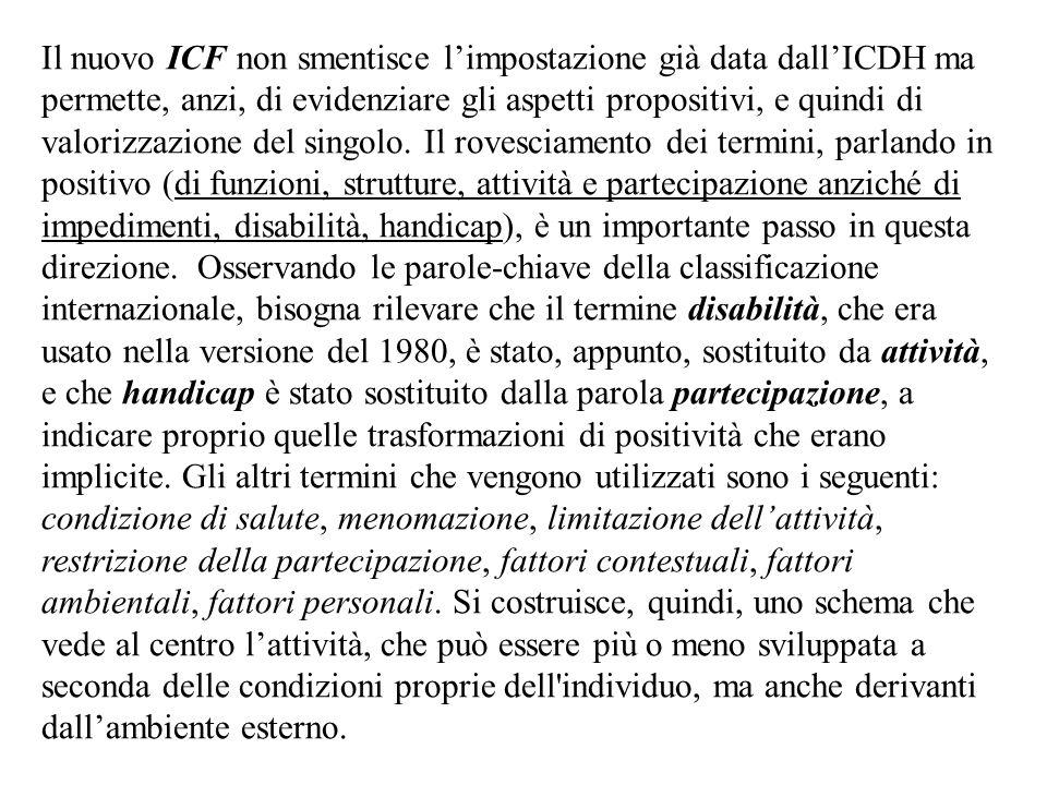 Il nuovo ICF non smentisce limpostazione già data dallICDH ma permette, anzi, di evidenziare gli aspetti propositivi, e quindi di valorizzazione del s
