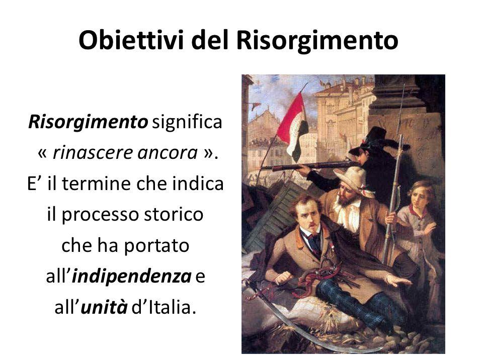 Obiettivi del Risorgimento Risorgimento significa « rinascere ancora ».