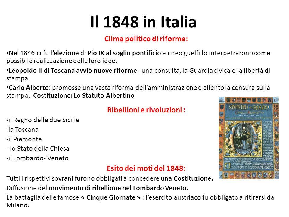 Clima politico di riforme: Nel 1846 ci fu lelezione di Pio IX al soglio pontificio e i neo guelfi lo interpetrarono come possibile realizzazione delle