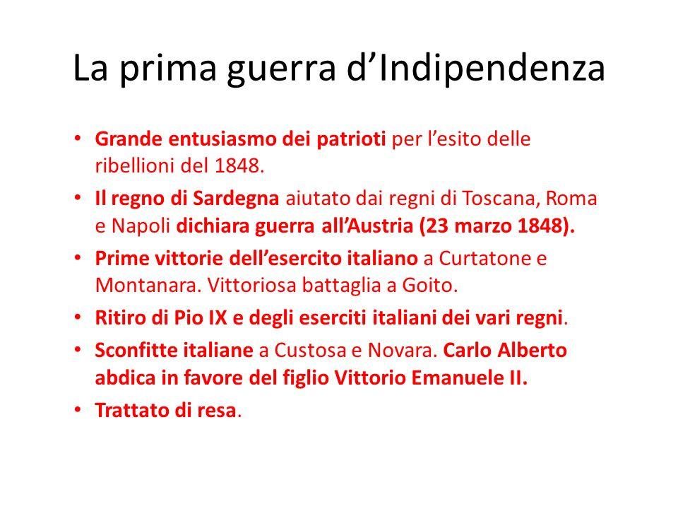 La prima guerra dIndipendenza Grande entusiasmo dei patrioti per lesito delle ribellioni del 1848. Il regno di Sardegna aiutato dai regni di Toscana,