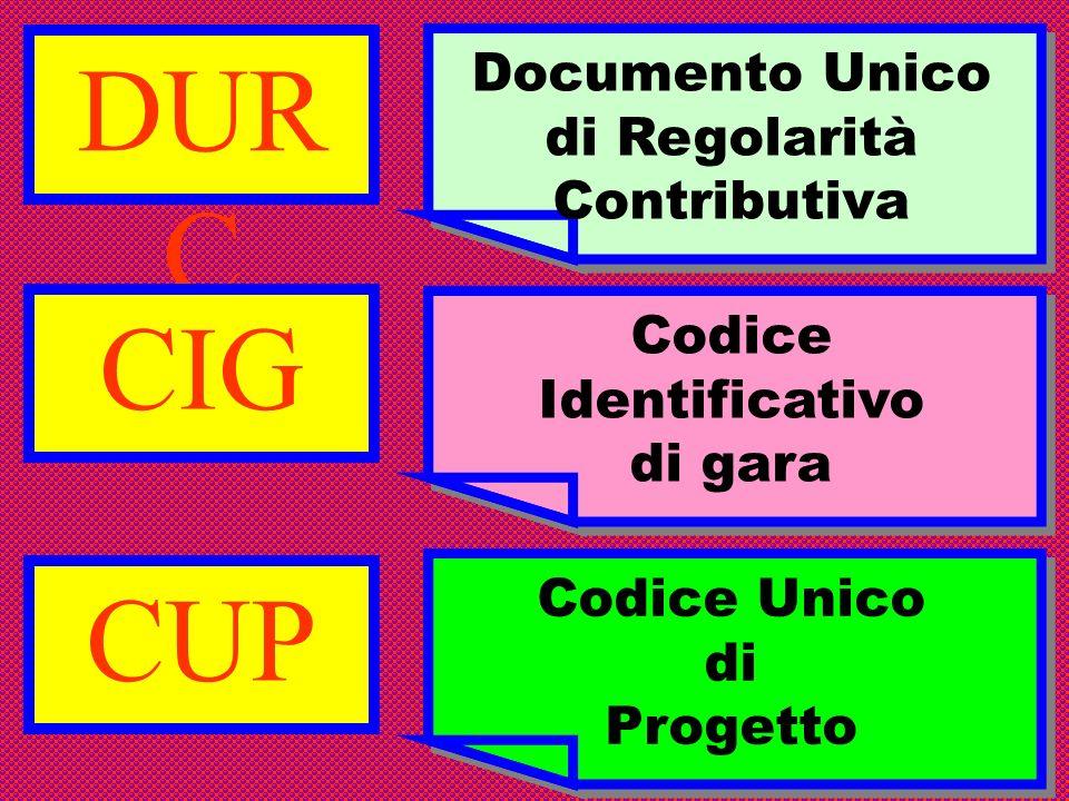 DUR C Documento Unico di Regolarità Contributiva CUP Codice Unico di Progetto Codice Unico di Progetto CIG Codice Identificativo di gara Codice Identi