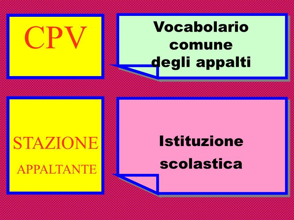 CPV Vocabolario comune degli appalti Vocabolario comune degli appalti STAZIONE APPALTANTE Istituzione scolastica Istituzione scolastica