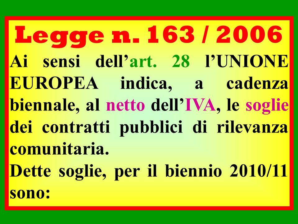 Legge n. 163 / 2006 Ai sensi dellart. 28 lUNIONE EUROPEA indica, a cadenza biennale, al netto dellIVA, le soglie dei contratti pubblici di rilevanza c