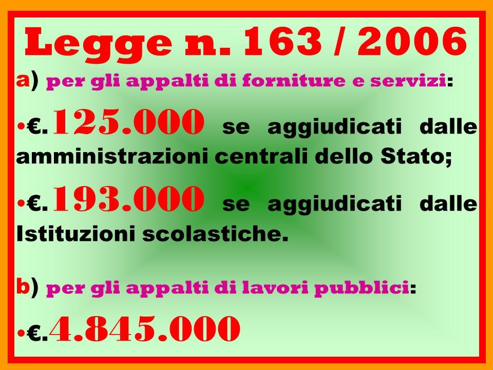 Legge n. 163 / 2006 a) p er gli appalti di forniture e servizi:. 125.000 se aggiudicati dalle amministrazioni centrali dello Stato;. 193.000 se aggiud