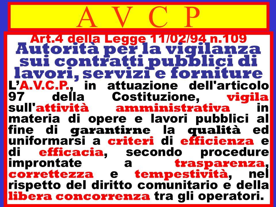 A V C P Art.4 della Legge 11/02/94 n.109 Autorità per la vigilanza sui contratti pubblici di lavori, servizi e forniture LA.V.C.P., in attuazione dell