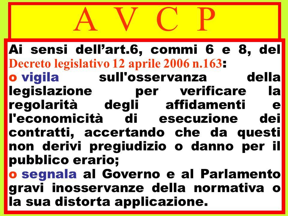 A V C P Ai sensi dellart.6, commi 6 e 8, del Decreto legislativo 12 aprile 2006 n.163 : o vigila sull'osservanza della legislazione per verificare la