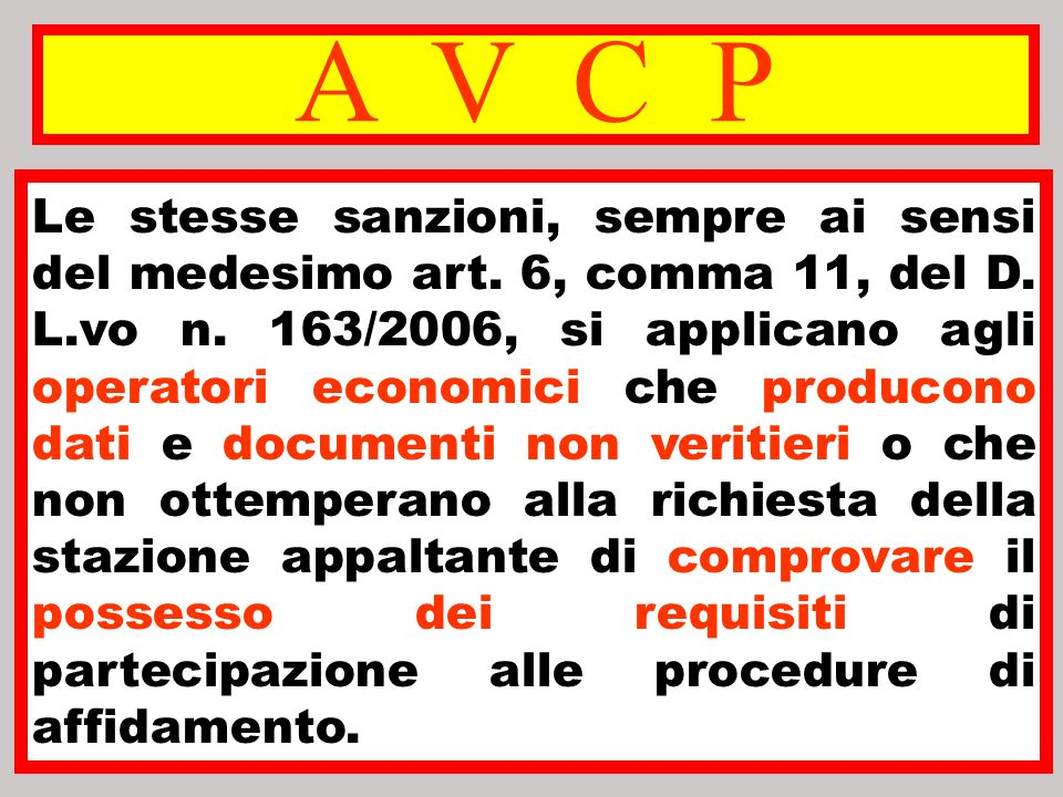A V C P Le stesse sanzioni, sempre ai sensi del medesimo art. 6, comma 11, del D. L.vo n. 163/2006, si applicano agli operatori economici che producon