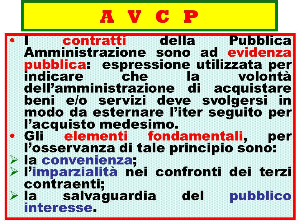 A V C P I contratti della Pubblica Amministrazione sono ad evidenza pubblica: espressione utilizzata per indicare che la volontà dellamministrazione d