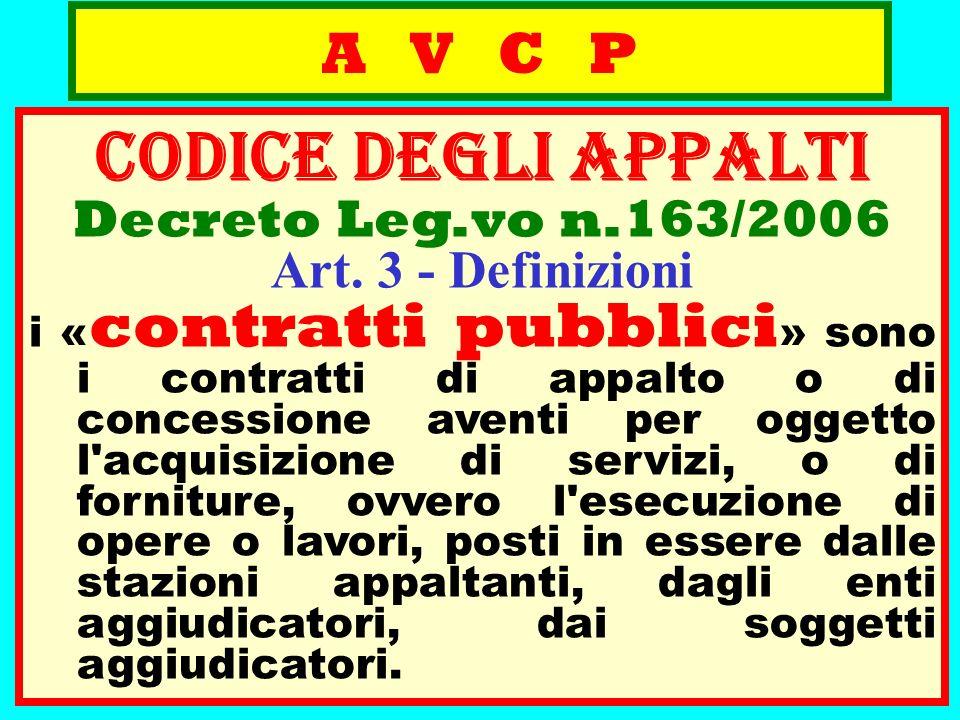 A V C P CODICE deGLI APPALTI Decreto Leg.vo n.163/2006 Art. 3 - Definizioni i « contratti pubblici » sono i contratti di appalto o di concessione aven