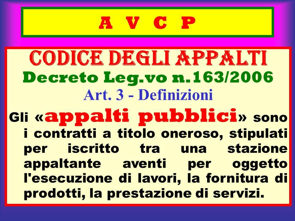 A V C P CODICE deGLI APPALTI Decreto Leg.vo n.163/2006 Art. 3 - Definizioni Gli « appalti pubblici » sono i contratti a titolo oneroso, stipulati per