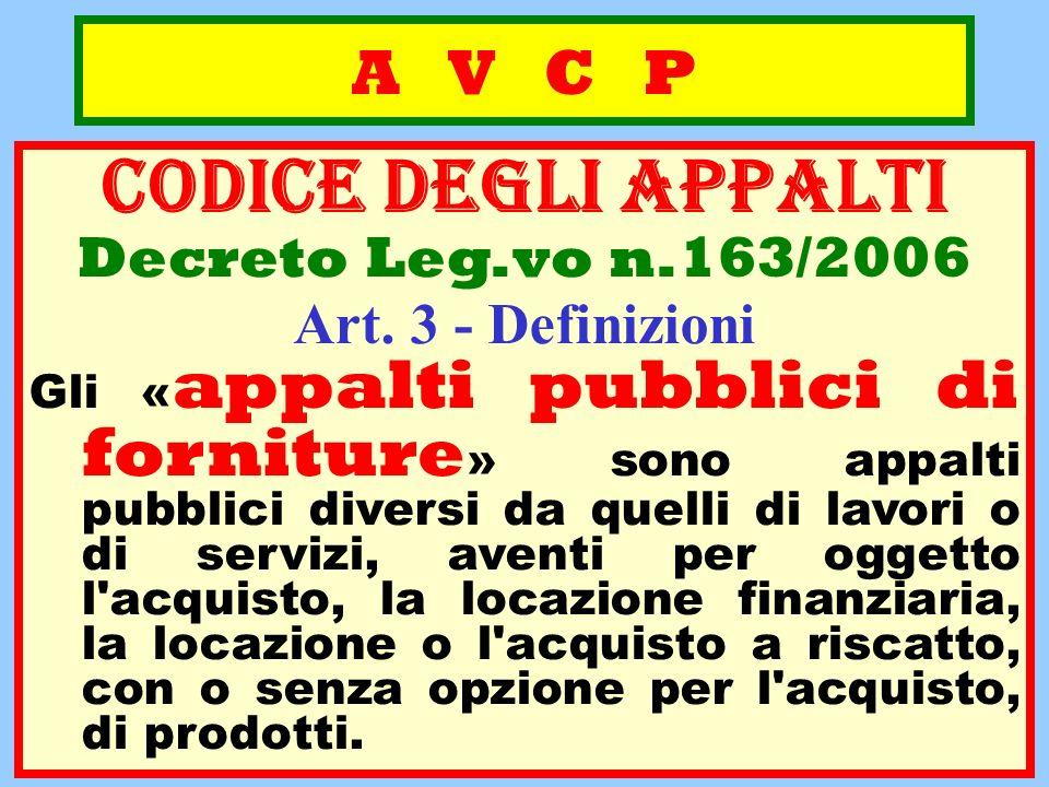 A V C P CODICE deGLI APPALTI Decreto Leg.vo n.163/2006 Art. 3 - Definizioni Gli « appalti pubblici di forniture » sono appalti pubblici diversi da que