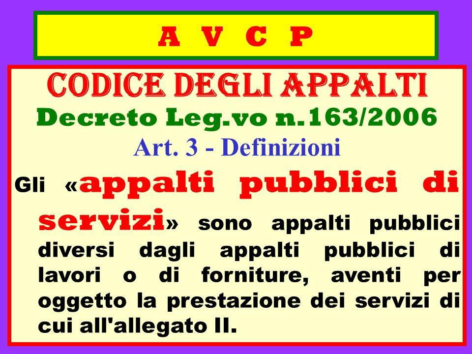 A V C P CODICE deGLI APPALTI Decreto Leg.vo n.163/2006 Art. 3 - Definizioni Gli « appalti pubblici di servizi » sono appalti pubblici diversi dagli ap