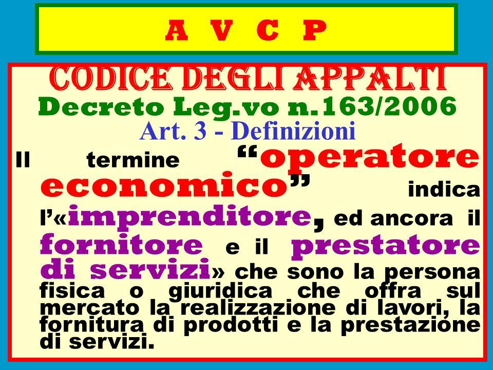 A V C P CODICE deGLI APPALTI Decreto Leg.vo n.163/2006 Art. 3 - Definizioni Il termine operatore economico indica l« imprenditore, ed ancora il fornit