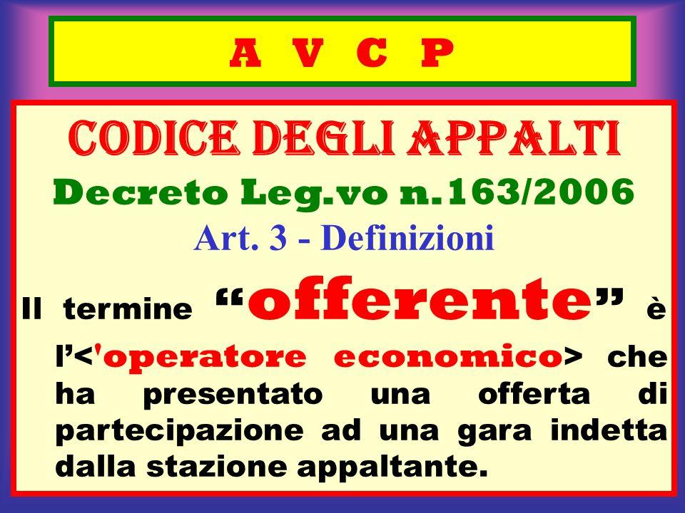 A V C P CODICE deGLI APPALTI Decreto Leg.vo n.163/2006 Art. 3 - Definizioni Il termine offerente è l che ha presentato una offerta di partecipazione a