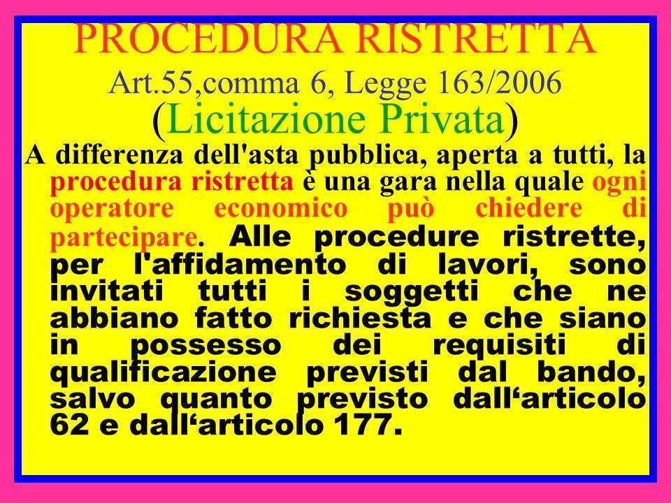 PROCEDURA RISTRETTA Art.55,comma 6, Legge 163/2006 (Licitazione Privata) A differenza dell'asta pubblica, aperta a tutti, la procedura ristretta è una