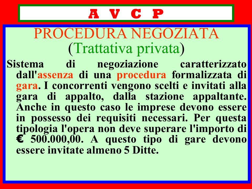 A V C P PROCEDURA NEGOZIATA (Trattativa privata) Sistema di negoziazione caratterizzato dall'assenza di una procedura formalizzata di gara. I concorre