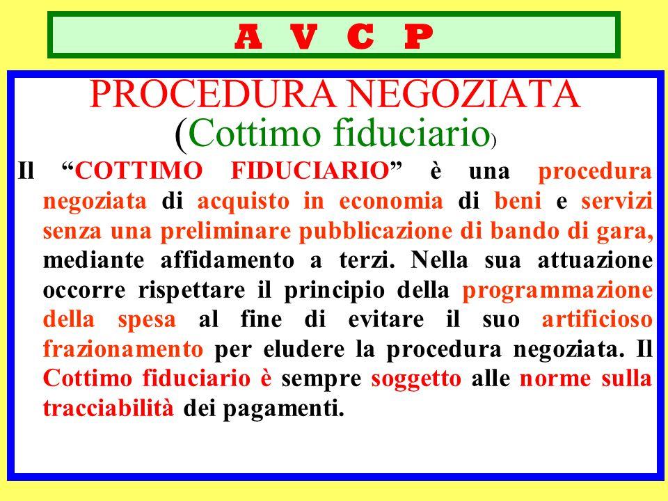 A V C P PROCEDURA NEGOZIATA (Cottimo fiduciario ) Il COTTIMO FIDUCIARIO è una procedura negoziata di acquisto in economia di beni e servizi senza una
