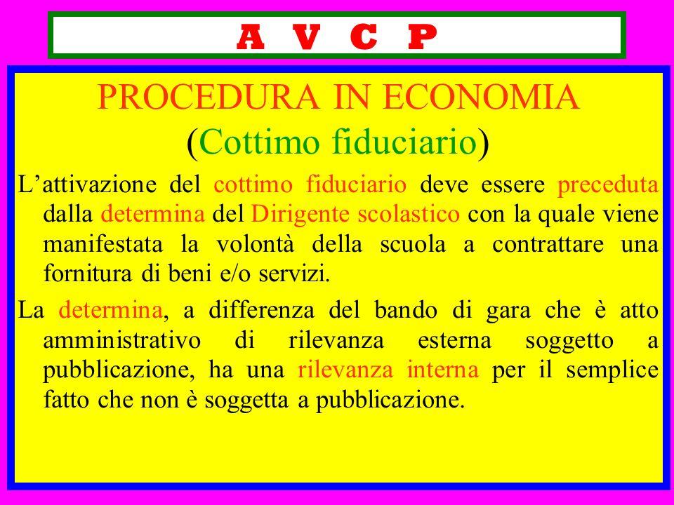 A V C P PROCEDURA IN ECONOMIA (Cottimo fiduciario) Lattivazione del cottimo fiduciario deve essere preceduta dalla determina del Dirigente scolastico