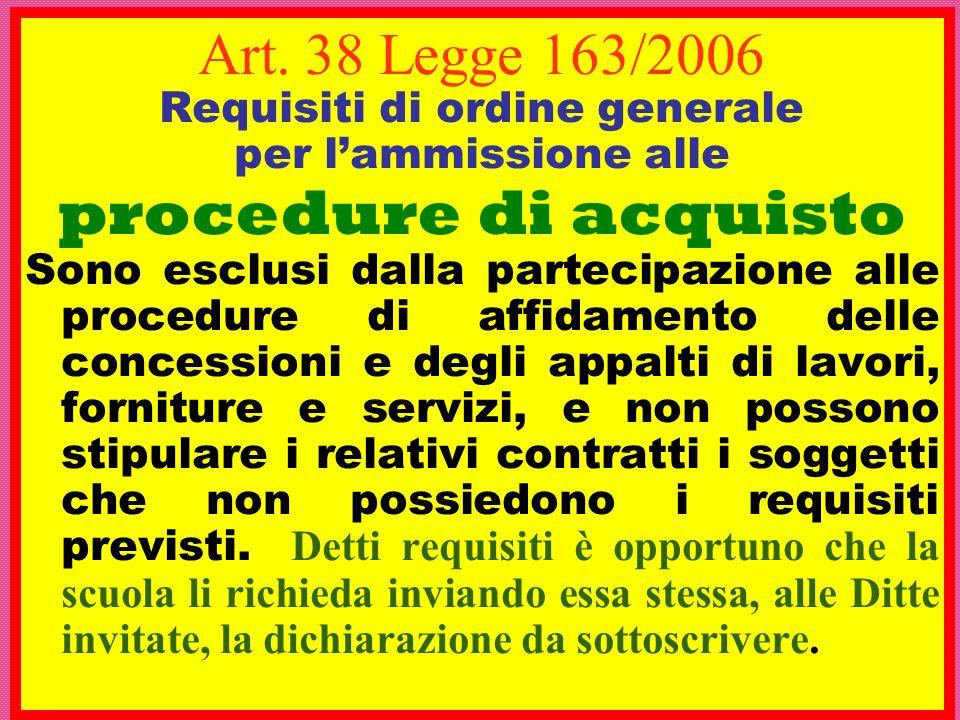 Art. 38 Legge 163/2006 Requisiti di ordine generale per lammissione alle procedure di acquisto Sono esclusi dalla partecipazione alle procedure di aff