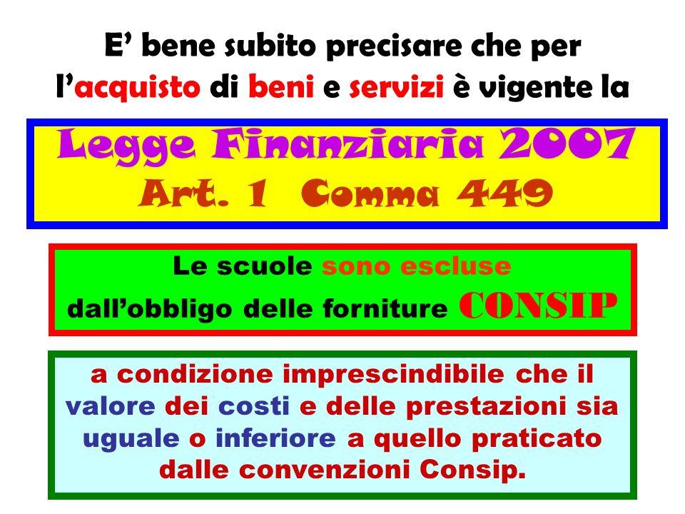 Legge Finanziaria 2007 Art. 1 Comma 449 Le scuole sono escluse dallobbligo delle forniture CONSIP a condizione imprescindibile che il valore dei costi