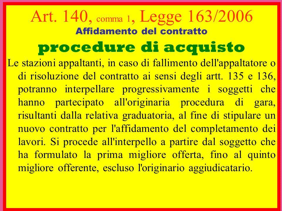 Art. 140, comma 1, Legge 163/2006 Affidamento del contratto procedure di acquisto Le stazioni appaltanti, in caso di fallimento dell'appaltatore o di