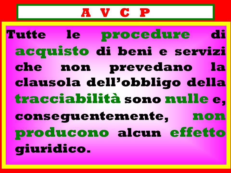 A V C P Tutte le procedure di acquisto di beni e servizi che non prevedano la clausola dellobbligo della tracciabilità sono nulle e, conseguentemente,