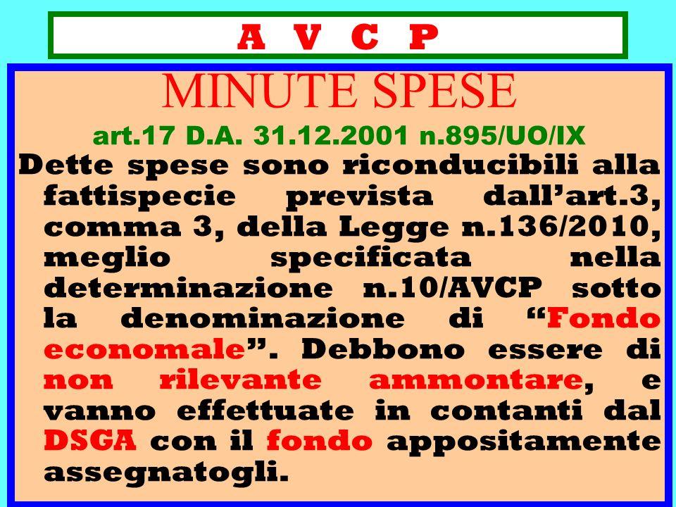 A V C P MINUTE SPESE art.17 D.A. 31.12.2001 n.895/UO/IX Dette spese sono riconducibili alla fattispecie prevista dallart.3, comma 3, della Legge n.136