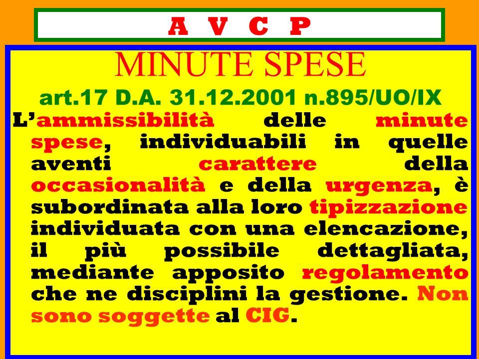 A V C P MINUTE SPESE art.17 D.A. 31.12.2001 n.895/UO/IX Lammissibilità delle minute spese, individuabili in quelle aventi carattere della occasionalit