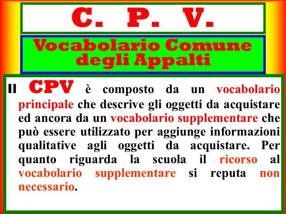 C. P. V. Il CPV è composto da un vocabolario principale che descrive gli oggetti da acquistare ed ancora da un vocabolario supplementare che può esser
