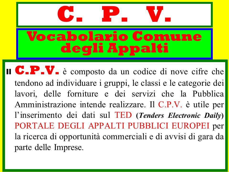 C. P. V. Il C.P.V. è composto da un codice di nove cifre che tendono ad individuare i gruppi, le classi e le categorie dei lavori, delle forniture e d