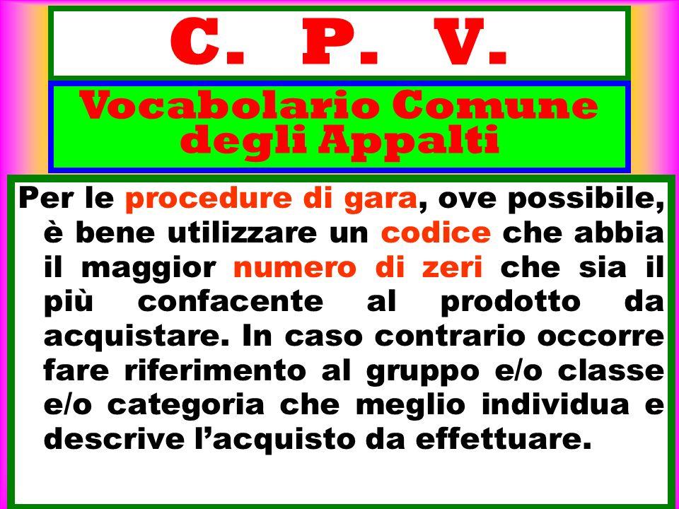 C. P. V. Per le procedure di gara, ove possibile, è bene utilizzare un codice che abbia il maggior numero di zeri che sia il più confacente al prodott