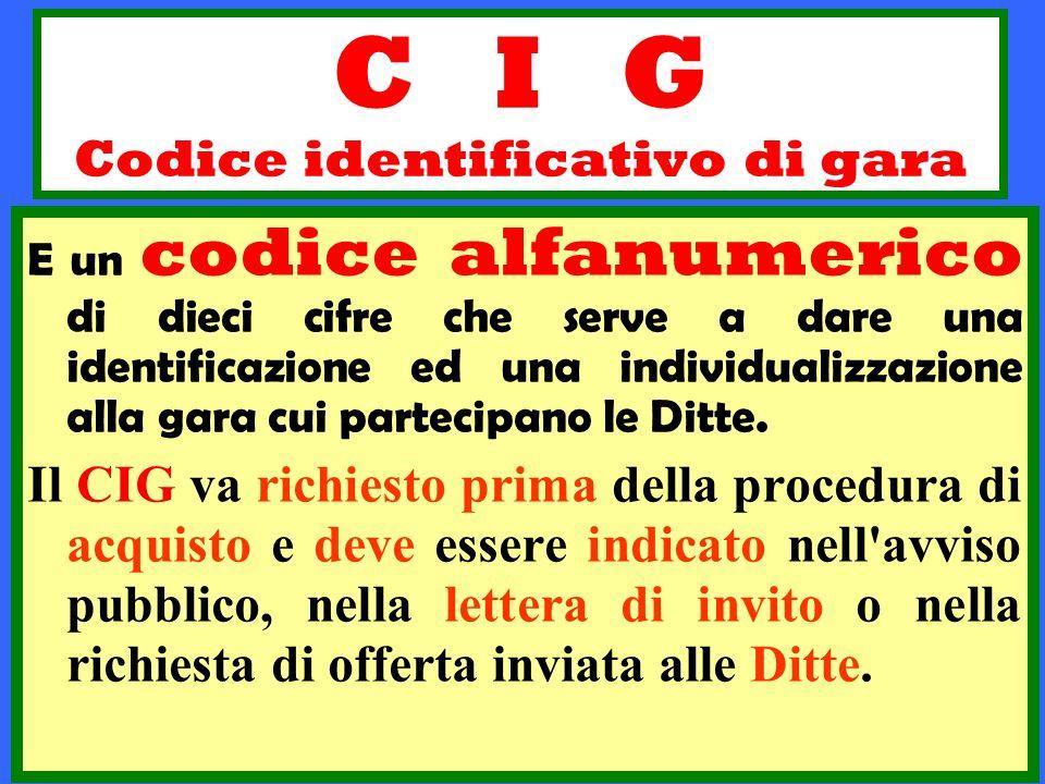 C I G Codice identificativo di gara E un codice alfanumerico di dieci cifre che serve a dare una identificazione ed una individualizzazione alla gara