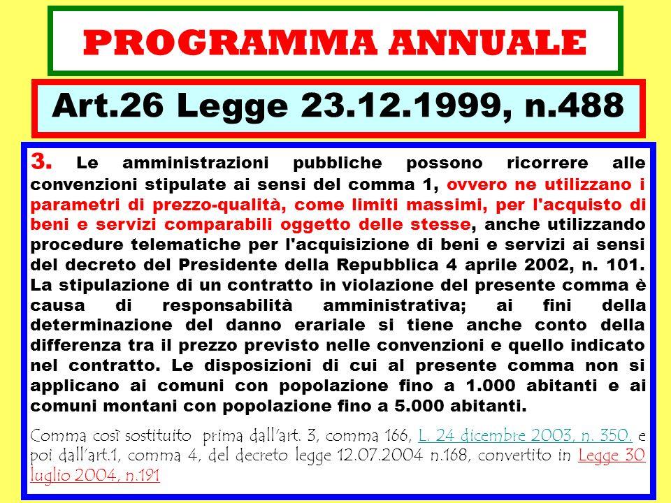 PROGRAMMA ANNUALE 3. Le amministrazioni pubbliche possono ricorrere alle convenzioni stipulate ai sensi del comma 1, ovvero ne utilizzano i parametri