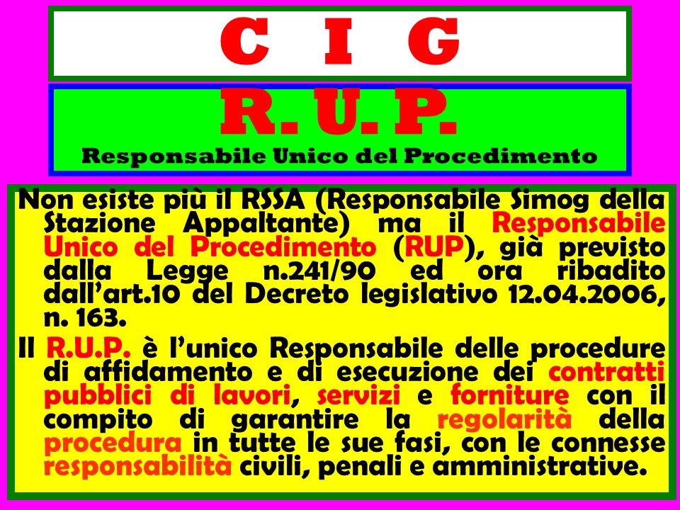 C I G Non esiste più il RSSA (Responsabile Simog della Stazione Appaltante) ma il Responsabile Unico del Procedimento (RUP), già previsto dalla Legge