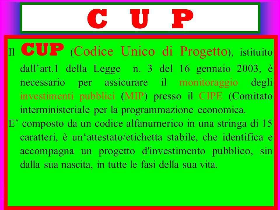 C U P Il CUP ( Codice Unico di Progetto ), istituito dallart.1 della Legge n. 3 del 16 gennaio 2003, è necessario per assicurare il monitoraggio degli