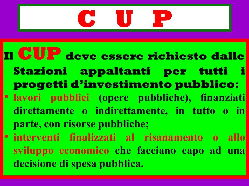 C U P Il CUP deve essere richiesto dalle Stazioni appaltanti per tutti i progetti dinvestimento pubblico: lavori pubblici (opere pubbliche), finanziat