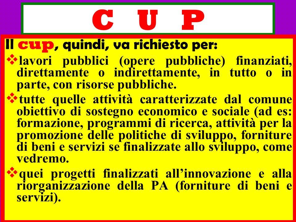 C U P Il cup, quindi, va richiesto per: lavori pubblici (opere pubbliche) finanziati, direttamente o indirettamente, in tutto o in parte, con risorse