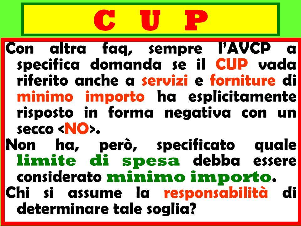 C U P Con altra faq, sempre lAVCP a specifica domanda se il CUP vada riferito anche a servizi e forniture di minimo importo ha esplicitamente risposto
