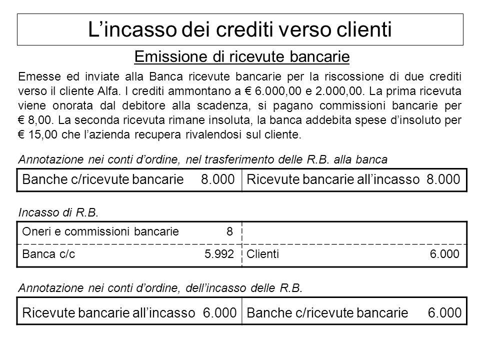 Lincasso dei crediti verso clienti Emissione di ricevute bancarie Emesse ed inviate alla Banca ricevute bancarie per la riscossione di due crediti ver