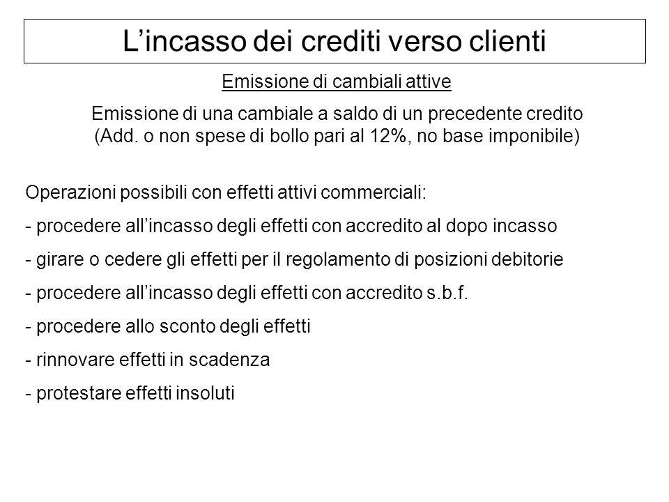 Lincasso dei crediti verso clienti Emissione di cambiali attive Emissione di una cambiale a saldo di un precedente credito (Add. o non spese di bollo