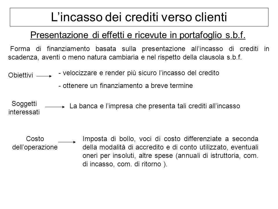 Lincasso dei crediti verso clienti Presentazione di effetti e ricevute in portafoglio s.b.f. Forma di finanziamento basata sulla presentazione allinca