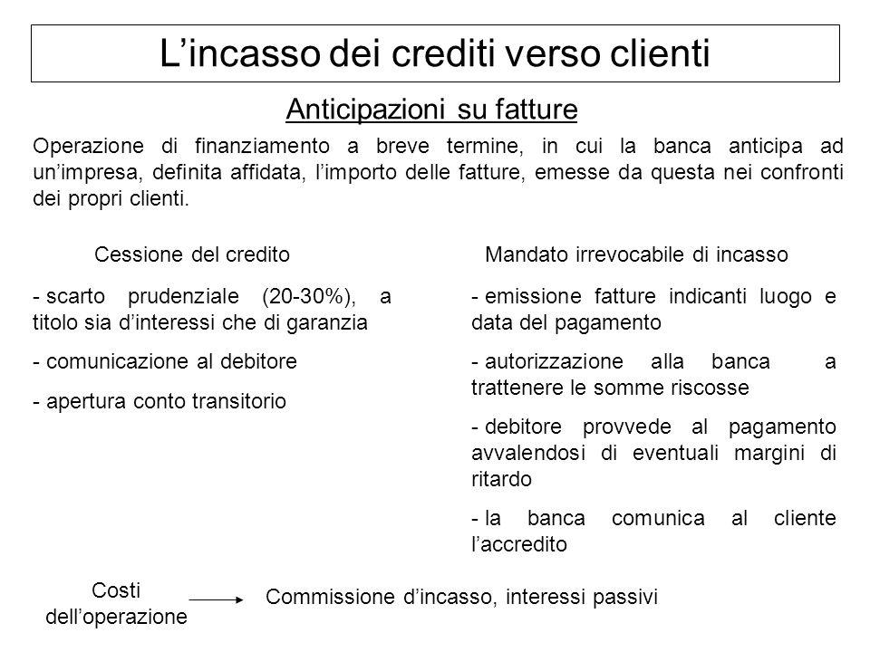 Lincasso dei crediti verso clienti Anticipazioni su fatture Operazione di finanziamento a breve termine, in cui la banca anticipa ad unimpresa, defini