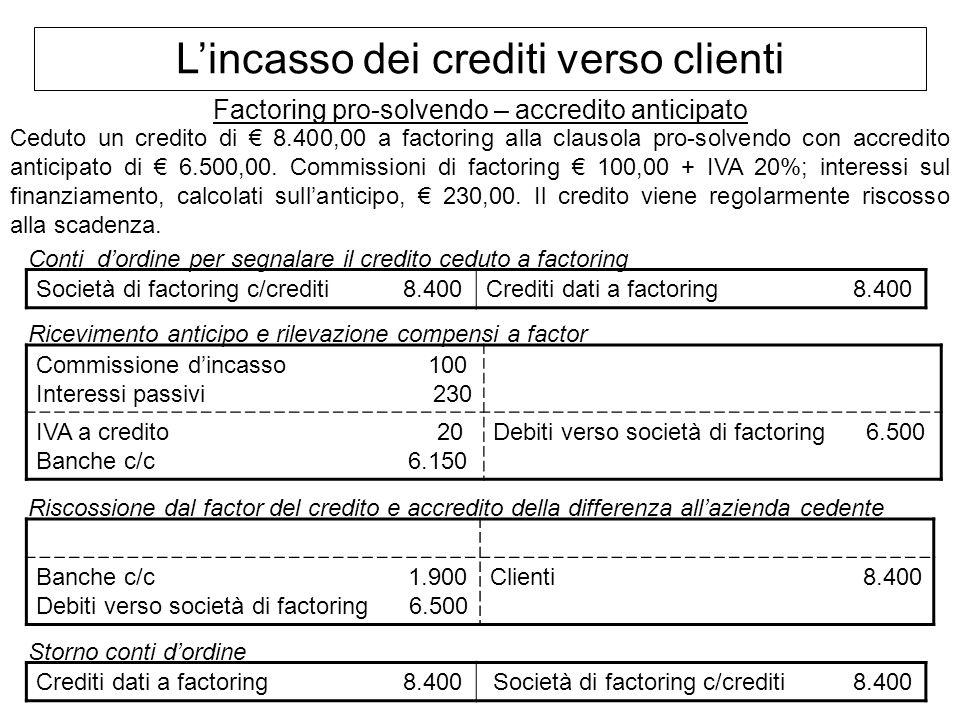 Lincasso dei crediti verso clienti Factoring pro-solvendo – accredito anticipato Ceduto un credito di 8.400,00 a factoring alla clausola pro-solvendo