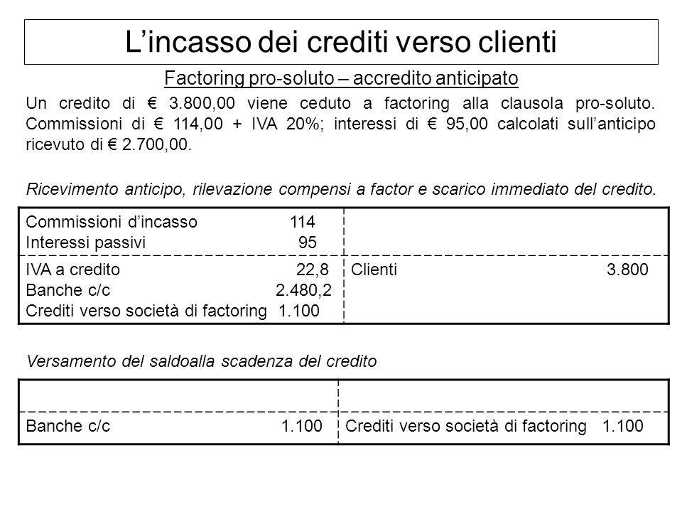 Lincasso dei crediti verso clienti Factoring pro-soluto – accredito anticipato Un credito di 3.800,00 viene ceduto a factoring alla clausola pro-solut