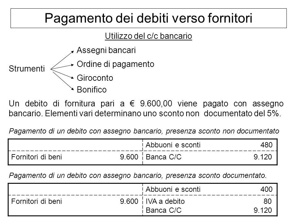 Pagamento dei debiti verso fornitori Utilizzo del c/c bancario Strumenti Assegni bancari Ordine di pagamento Giroconto Bonifico Un debito di fornitura