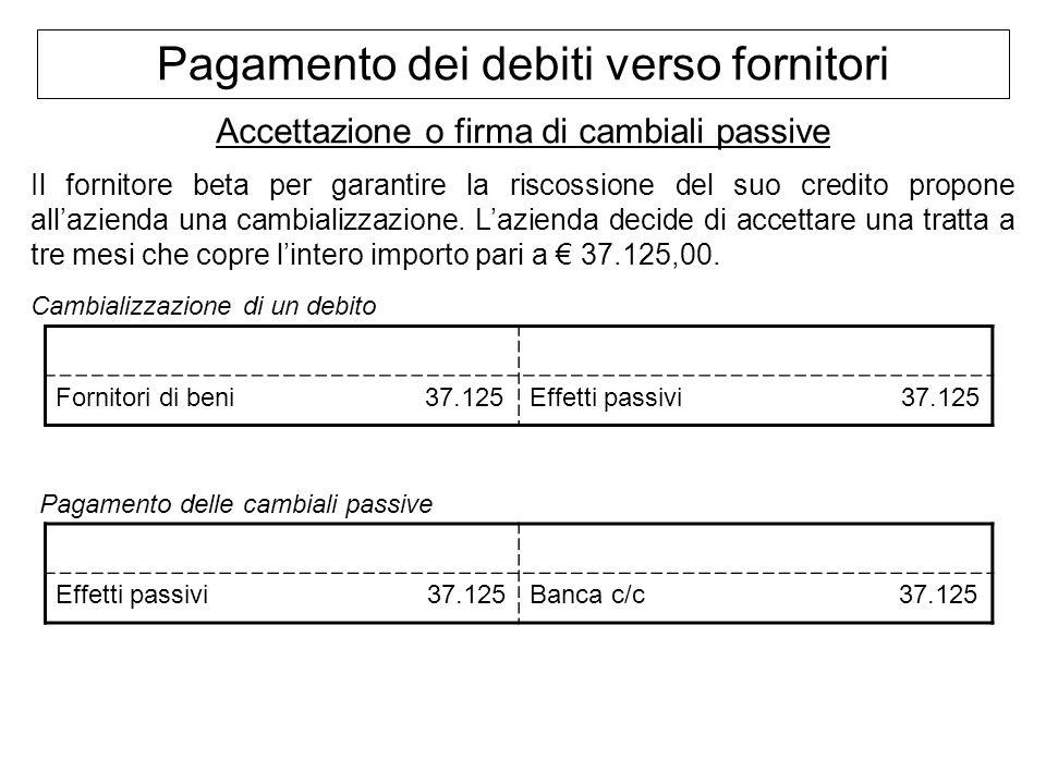 Pagamento dei debiti verso fornitori Accettazione o firma di cambiali passive Il fornitore beta per garantire la riscossione del suo credito propone a