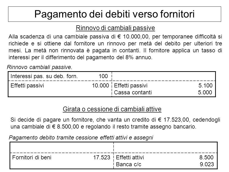 Pagamento dei debiti verso fornitori Rinnovo di cambiali passive Alla scadenza di una cambiale passiva di 10.000,00, per temporanee difficoltà si rich